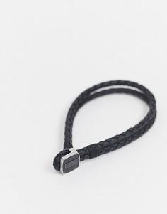 Кожаный плетеный браслет черного цвета с металлической застежкой Hugo Boss-Черный