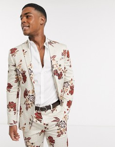 Приталенный пиджак с цветочным принтом Topman-Светло-бежевый