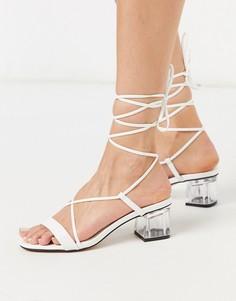 Белые босоножки на блочном каблуке с ремешками Topshop-Белый