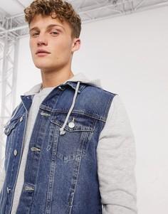 Голубая джинсовая куртка с трикотажными рукавами и капюшоном New Look-Синий