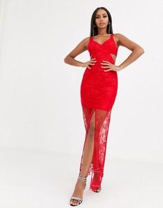 Красное платье макси с кружевом ASOS DESIGN-Красный