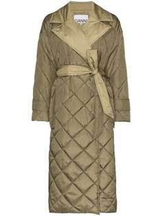 GANNI стеганое пальто с поясом