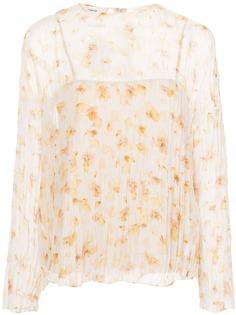 Vince блузка с цветочным принтом и жатым эффектом