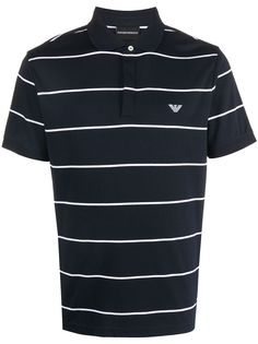 Emporio Armani striped embroidered logo polo shirt