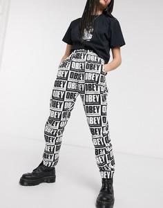 Широкие брюки с завышенной талией и принтом логотипа Obey-Мульти