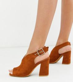 Коричневые туфли для широкой стопы Simply Be-Коричневый