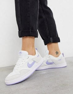 Белые кроссовки с голубыми вставками Nike SB Alleyoop-Синий