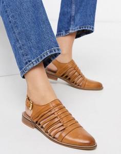 Кожаные светло-коричневые туфли на плоской подошве ASOS DESIGN-Светло-коричневый