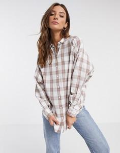Рубашка бойфренда в клетку с длинными рукавами ASOS DESIGN-Мульти