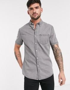 Серая джинсовая рубашка с короткими рукавами New Look-Серый