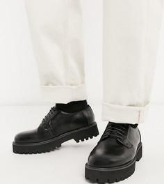 Черные туфли для широкой стопы из искусственной кожи, со шнуровкой и массивной подошвой ASOS DESIGN-Черный