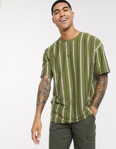 Зеленая футболка в стиле oversized с вертикальными полосками New Look-Зеленый