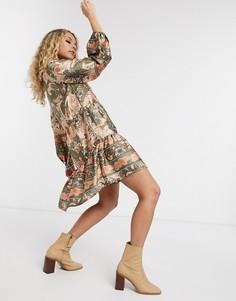 Свободное платье ярусного кроя с принтом пейсли Object-Мульти