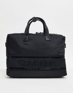 Черная сумка для ноутбука в полоску с логотипом Calvin Klein-Черный