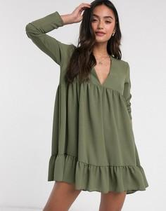 Свободное платье мини цвета хаки с V-образным вырезом ASOS DESIGN-Зеленый