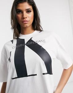 Белая oversized-футболка с логотипом Calvin Klein Jeans-Белый