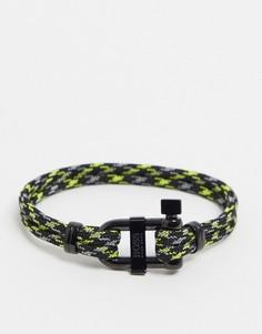 Веревочный браслет черного/зеленого цвета с металлической застежкой Hugo Boss-Черный
