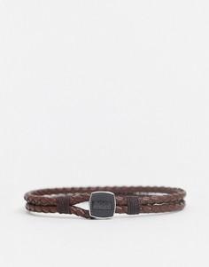Коричневый кожаный браслет с металлической застежкой Hugo Boss