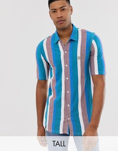 Рубашка с короткими рукавами в полоску Le Breve Tall-Синий