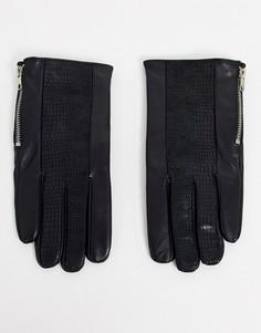 Черные кожаные перчатки с молниями ASOS DESIGN-Черный