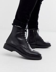 Черные кожаные ботинки на шнуровке Walk London-Черный