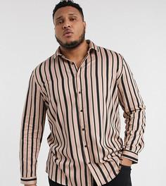 Черно-розовая рубашка в полоску с длинными рукавами River Island Big & Tall-Розовый
