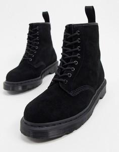 Черные замшевые ботинки с 8 парами люверсов Dr Martens 1460-Черный