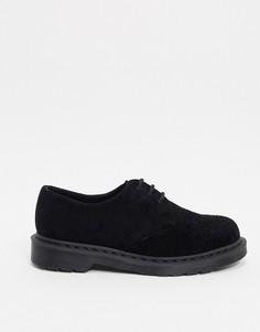 Черные замшевые туфли с 3 парами люверсов Dr Martens 1461-Черный