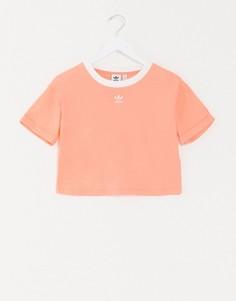 Розовая короткая футболка с логотипом adidas Originals-Оранжевый
