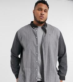 Серая рубашка с длинными рукавами в полоску River Island Big & Tall-Серый