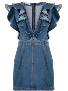 Philosophy Di Lorenzo Serafini джинсовое платье мини с глубоким декольте