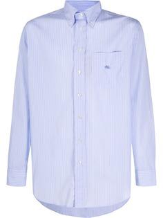 Etro рубашка в полоску с накладным карманом