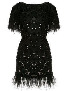 Macgraw платье с перьями и пайетками