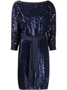 Emporio Armani платье с вышивкой пайетками и завязками на талии