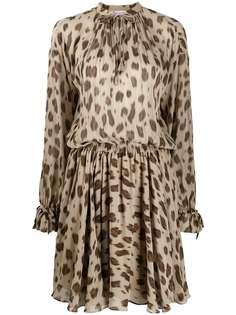 ANINE BING платье с леопардовым принтом и вырезом капелькой