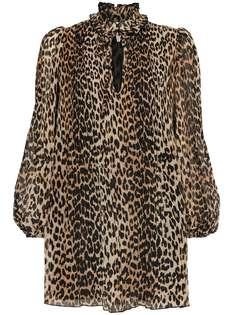 GANNI короткое платье-трапеция с леопардовым принтом