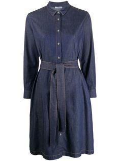 Peserico джинсовое платье-рубашка с длинными рукавами