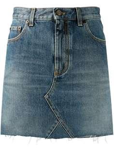 Saint Laurent джинсовая мини-юбка с необработанными краями