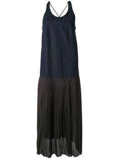Muller Of Yoshiokubo джинсовое платье без рукавов с плиссировкой