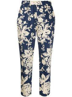 RedValentino укороченные брюки с цветочным принтом