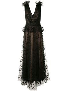 Tadashi Shoji вечернее платье из тюля без рукавов с вышивкой