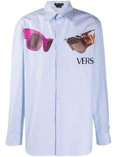 Versace рубашка Medusa Biggie в тонкую полоску