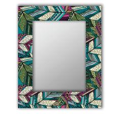 Зеркало настенное Дом Корлеоне Зеленые перья 04-0107-90х90 90х90 см, уф печать