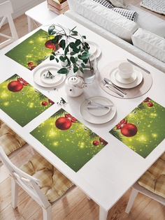 Комплект салфеток для сервировки стола «Искрящаяся новогодняя елка» (32х46 см, 4 шт.) Joy Arty