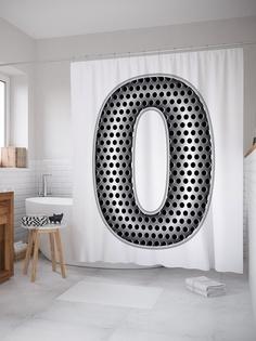 Штора (занавеска) для ванной «Алюминиевая o» из ткани, 180х200 см с крючками Joy Arty