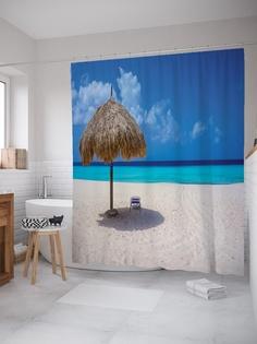 Штора (занавеска) для ванной «Солнечный зонт» из ткани, 180х200 см с крючками Joy Arty