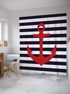Штора (занавеска) для ванной «Якорь моряка» из ткани, 180х200 см с крючками Joy Arty