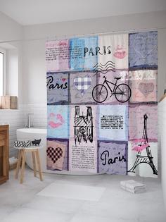 Штора (занавеска) для ванной «Париж для путешествий» из ткани, 180х200 см с крючками Joy Arty