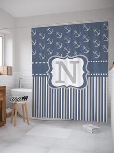 Штора (занавеска) для ванной «Морская n» из ткани, 180х200 см с крючками Joy Arty