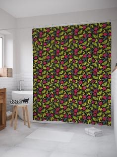 Штора (занавеска) для ванной «Спелые ягоды» из ткани, 180х200 см с крючками Joy Arty